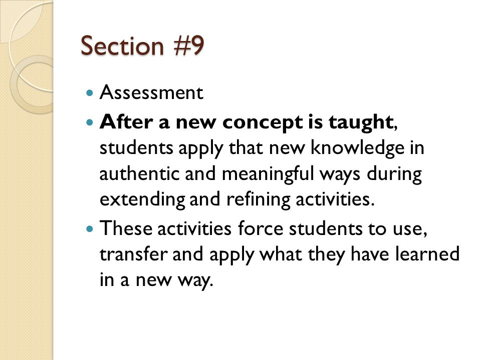 Section #9 Assessment.