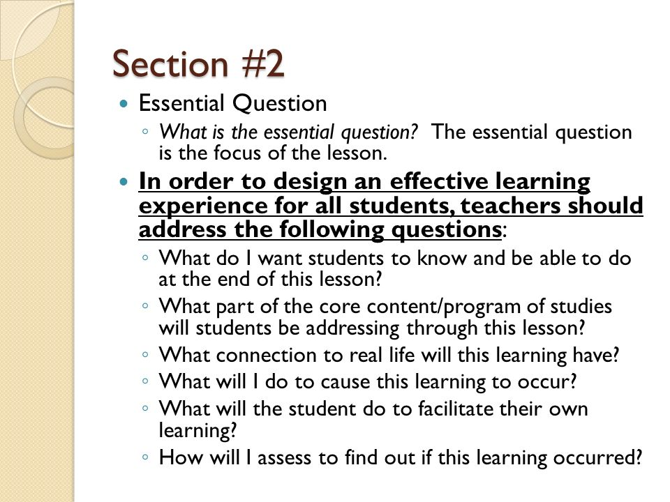 Section #2 Essential Question