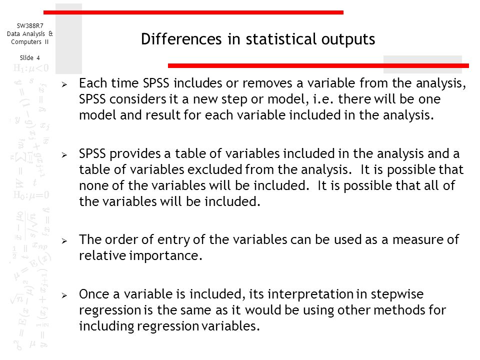 Stepwise Multiple Regression - ppt download