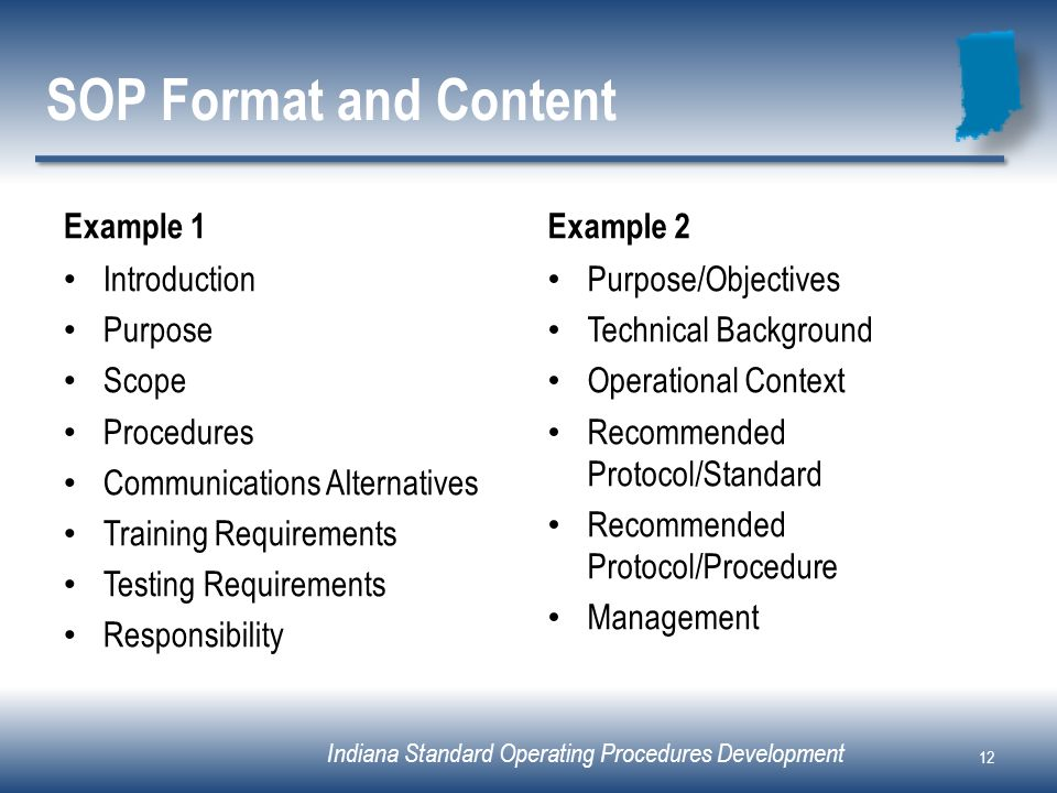 SOP Format and Content Example 1 Example 2 Introduction Purpose Scope
