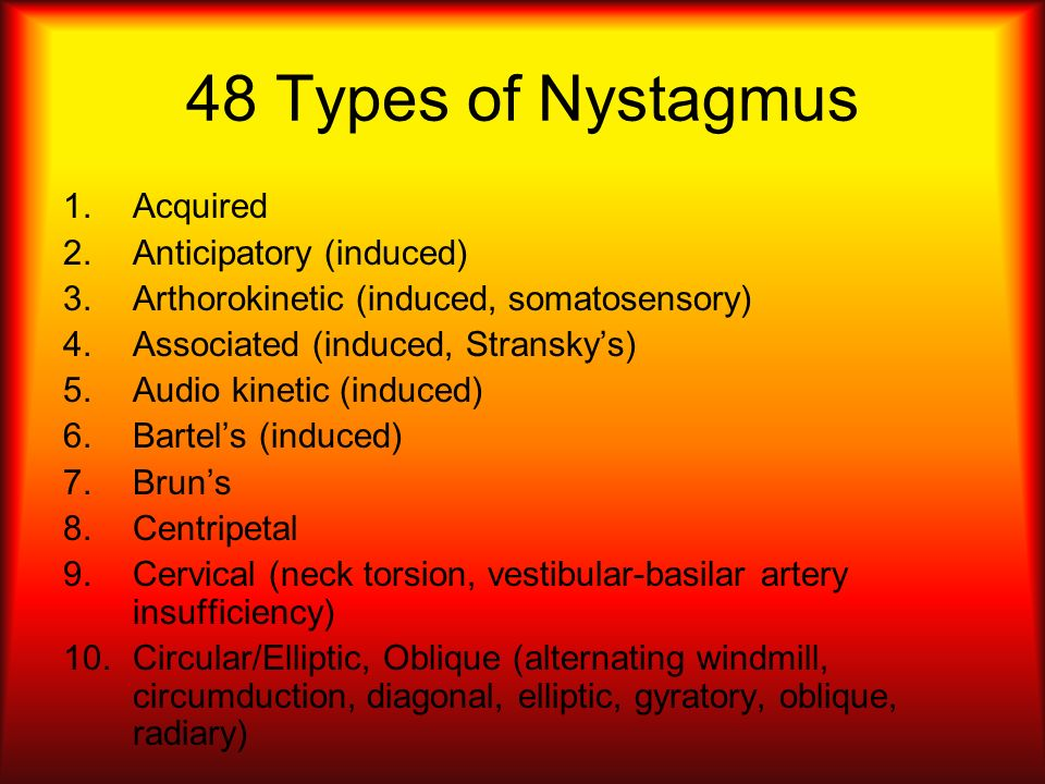 48 Types of Nystagmus Acquired Anticipatory (induced)