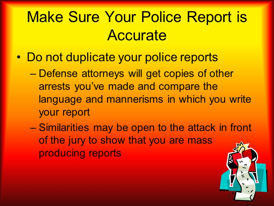 Make Sure Your Police Report is Accurate