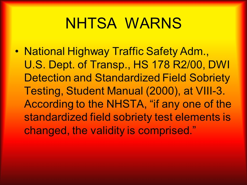 NHTSA WARNS