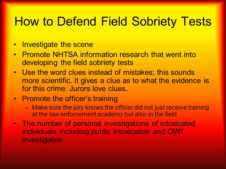 How to Defend Field Sobriety Tests