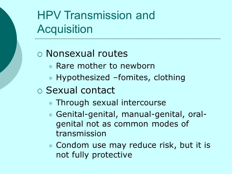Nonsexual causes of hpv