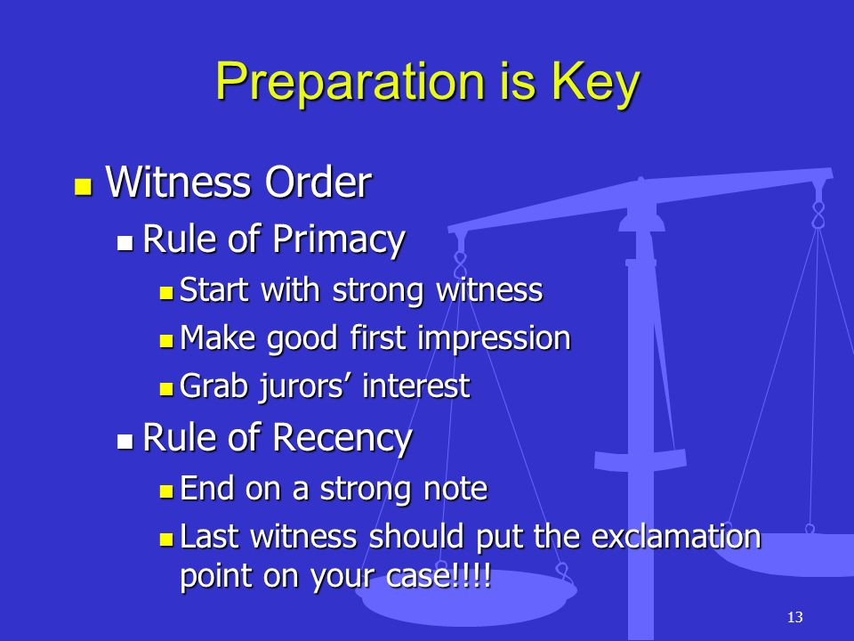 Preparation is Key Witness Order Rule of Primacy Rule of Recency