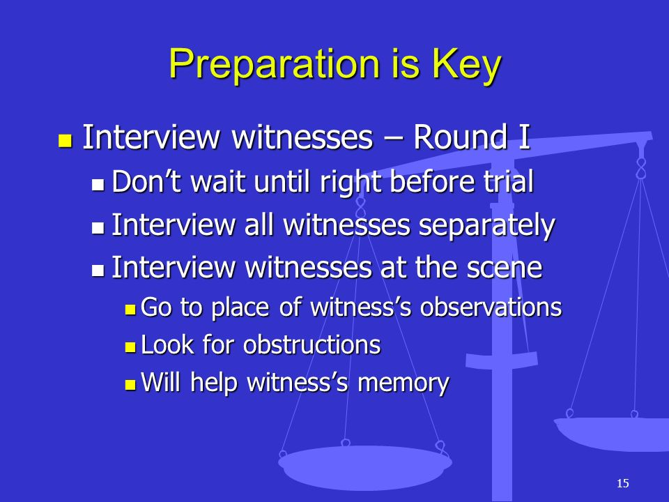 Preparation is Key Interview witnesses – Round I
