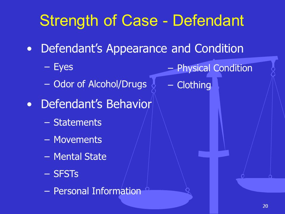 Strength of Case - Defendant
