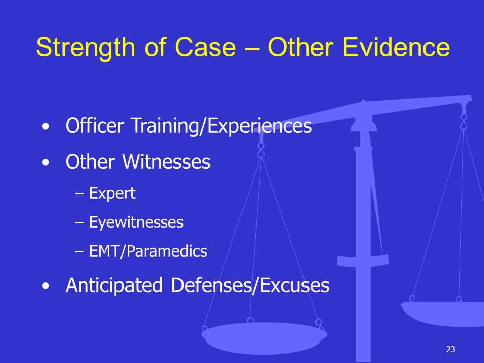 Strength of Case – Other Evidence