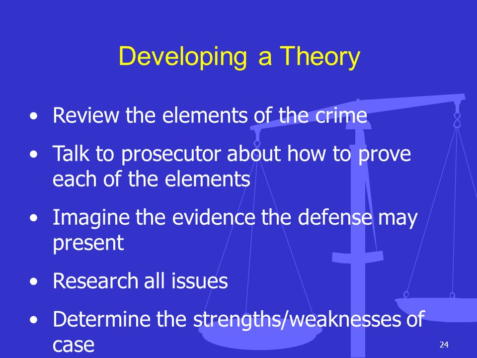 Developing a Theory Review the elements of the crime