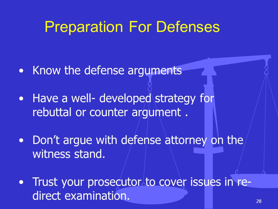 Preparation For Defenses