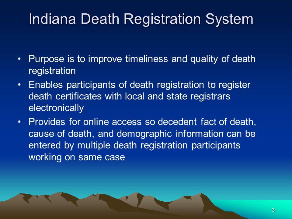 Indiana Death Registration System Idrs Ppt Download