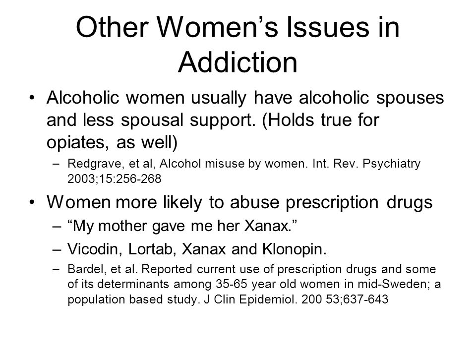 Other Women's Issues in Addiction