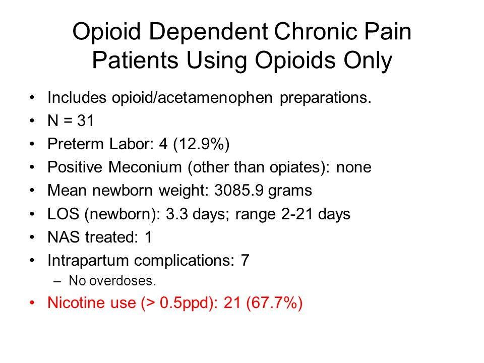 Opioid Dependent Chronic Pain Patients Using Opioids Only