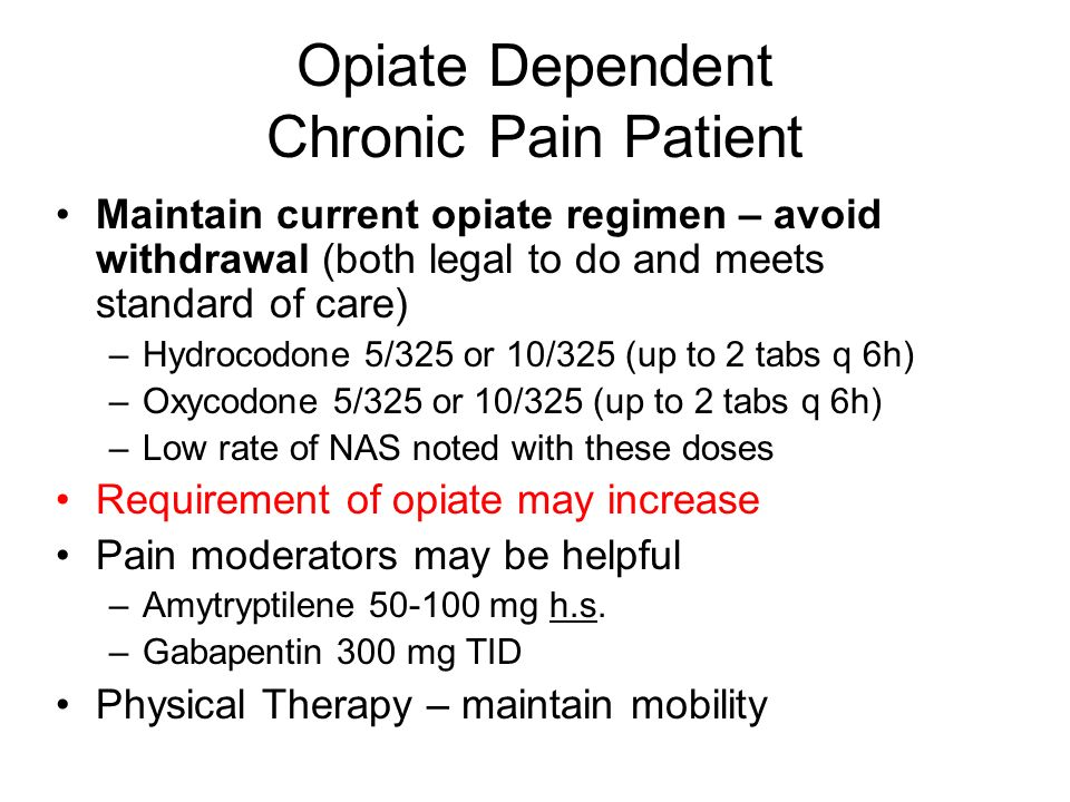 Opiate Dependent Chronic Pain Patient