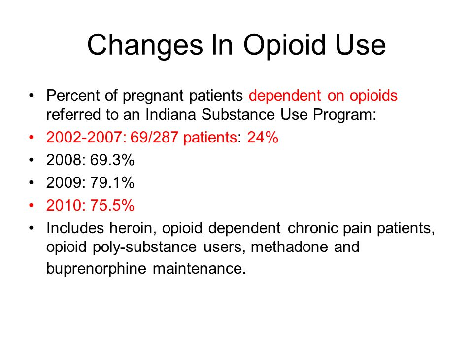 Changes In Opioid Use Percent of pregnant patients dependent on opioids referred to an Indiana Substance Use Program: