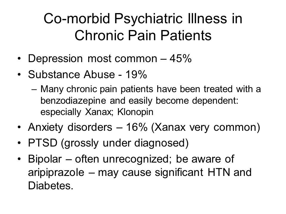 Co-morbid Psychiatric Illness in Chronic Pain Patients