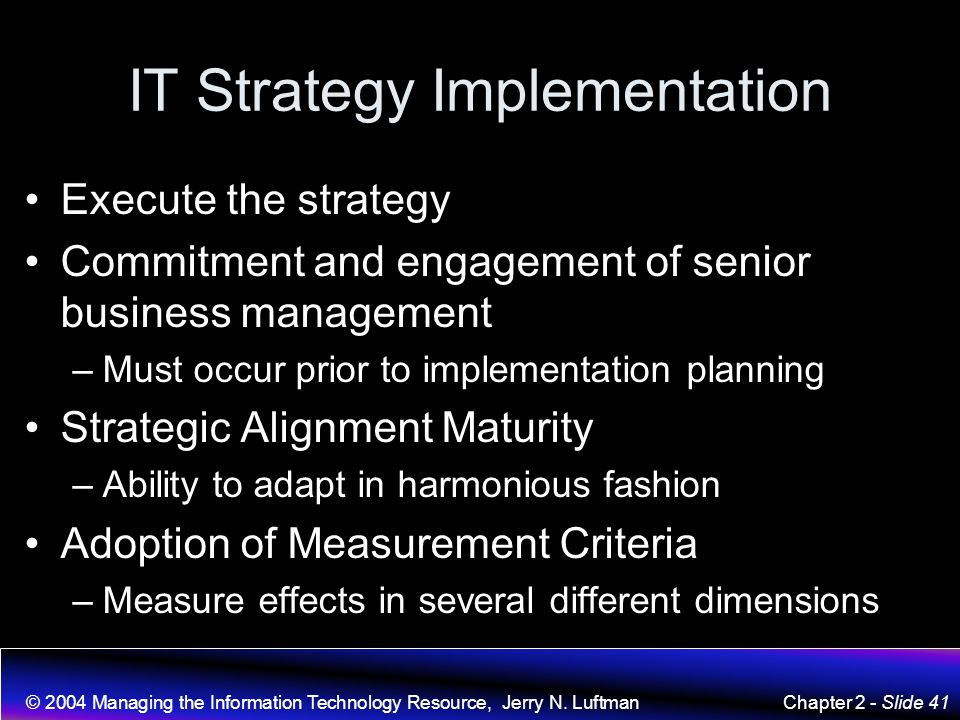 Managing The Information Technology Resource Jerry N Luftman Ppt