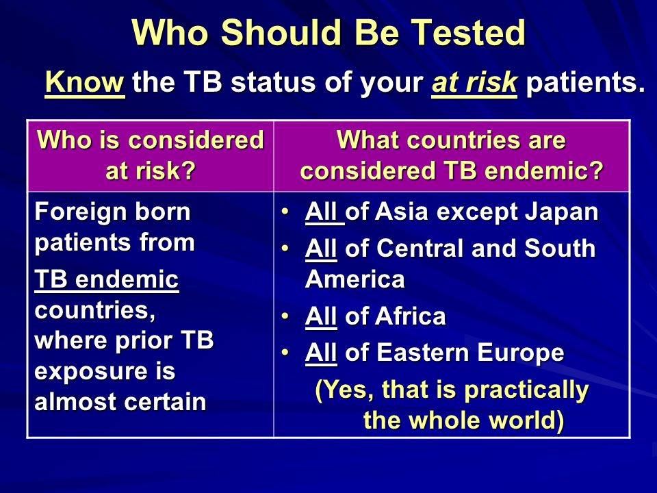 Who Should Be Tested Know the TB status of your at risk patients.