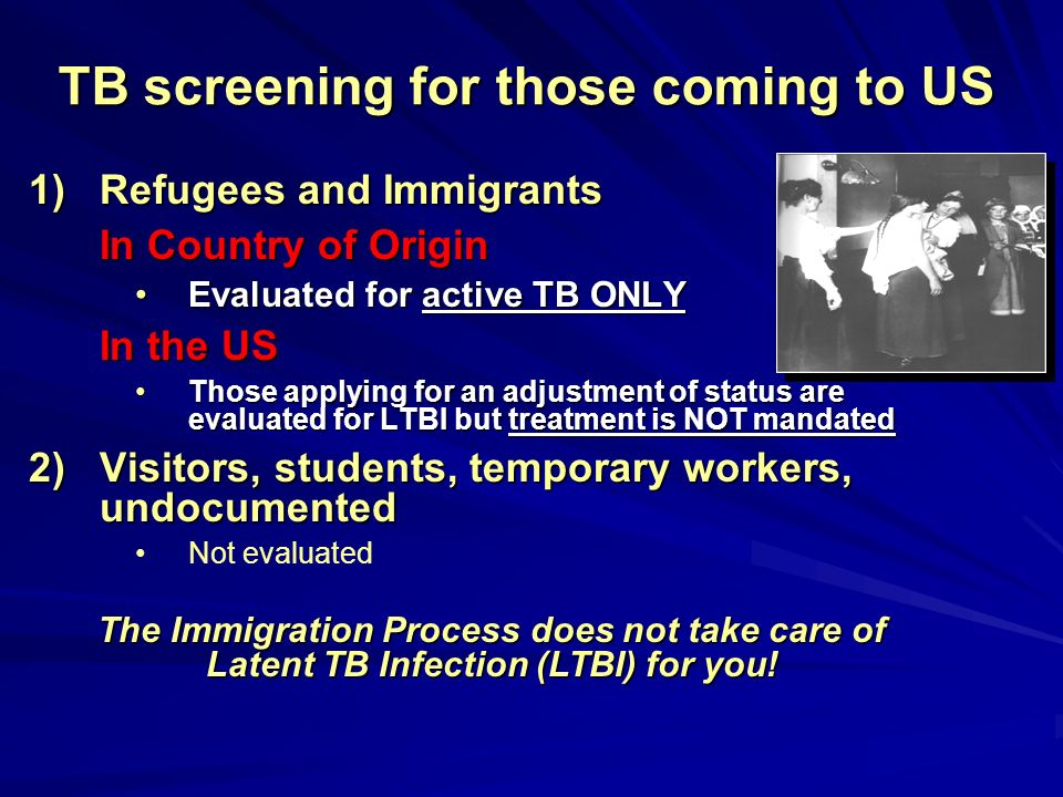 TB screening for those coming to US