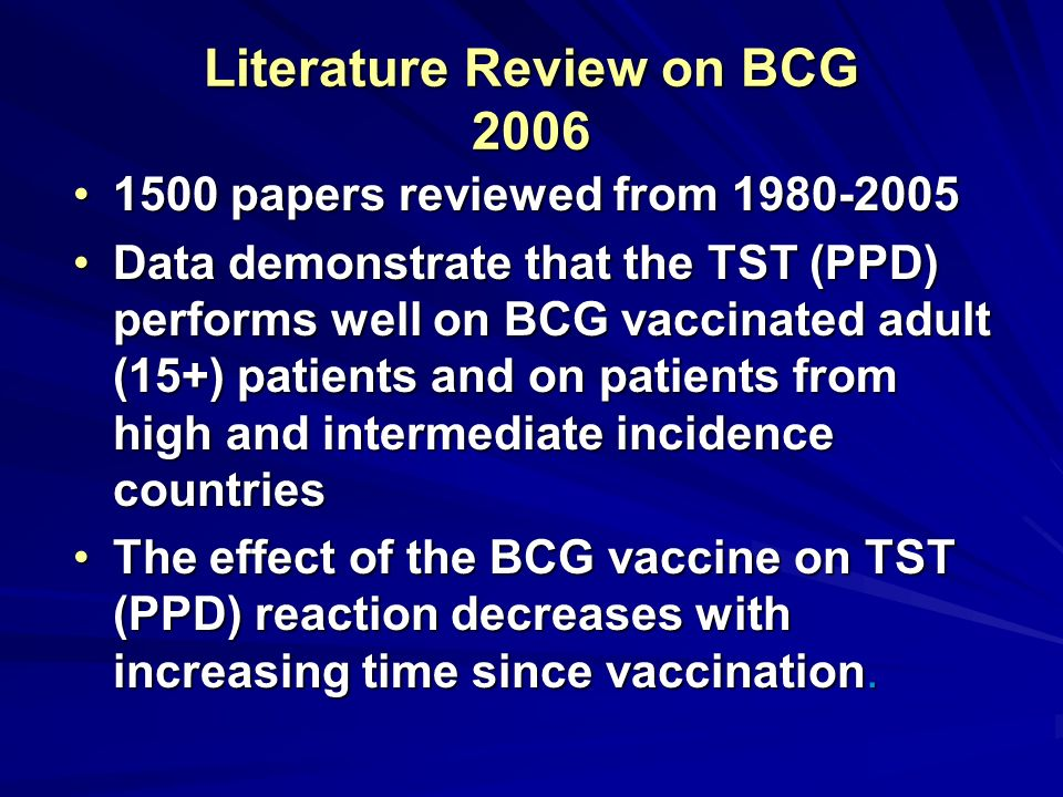 Literature Review on BCG 2006