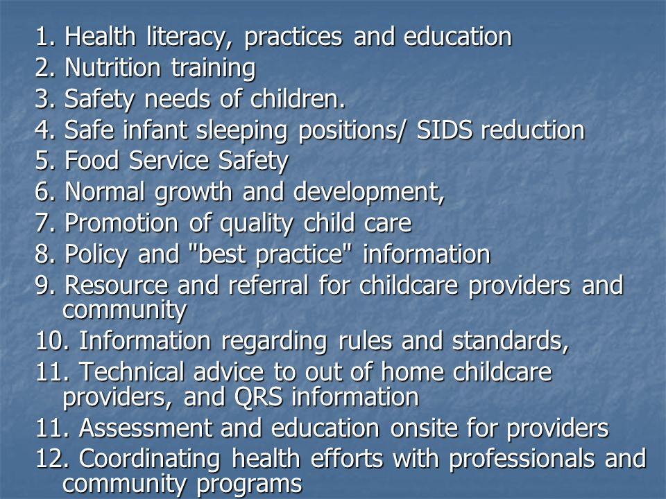 1. Health literacy, practices and education