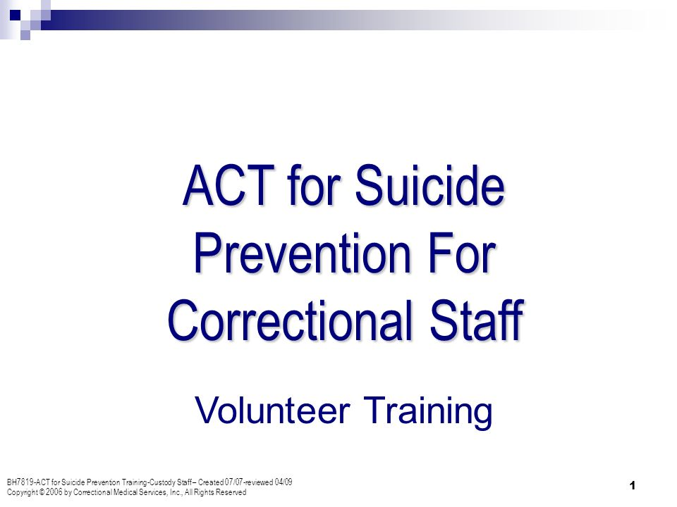 Correctional Officer Training - Suicide Prevention