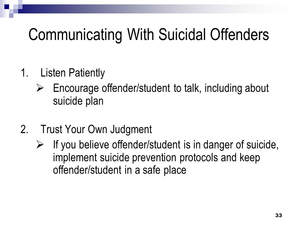 Communicating With Suicidal Offenders