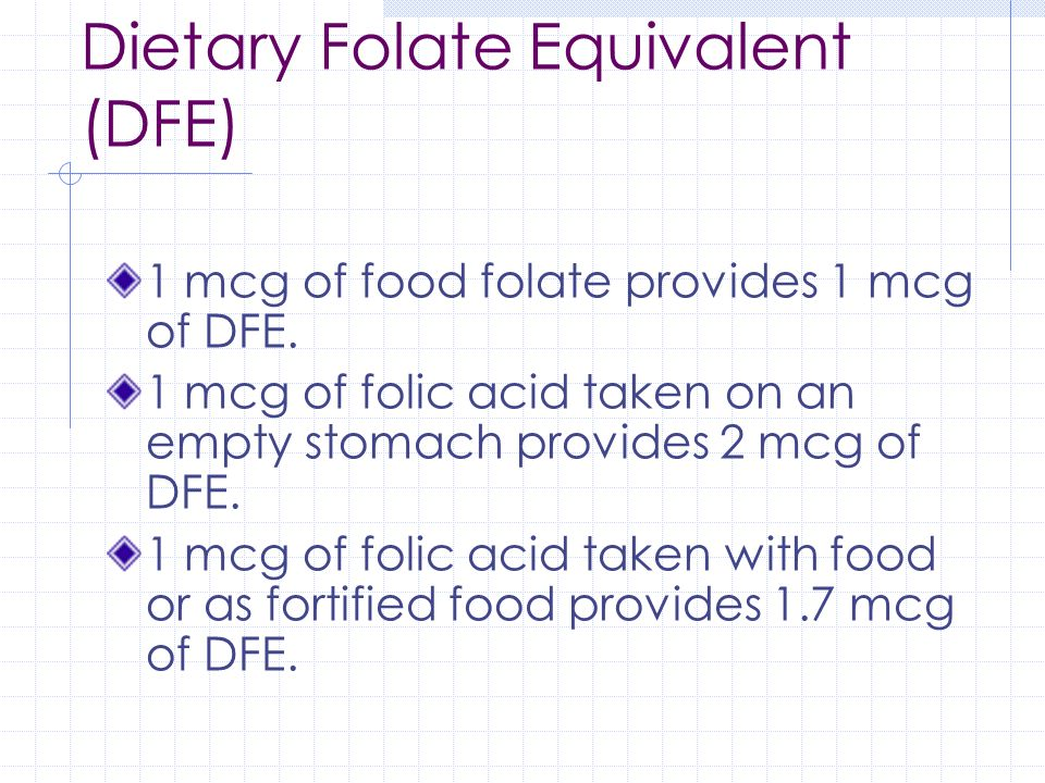 Dietary Folate Equivalent (DFE)