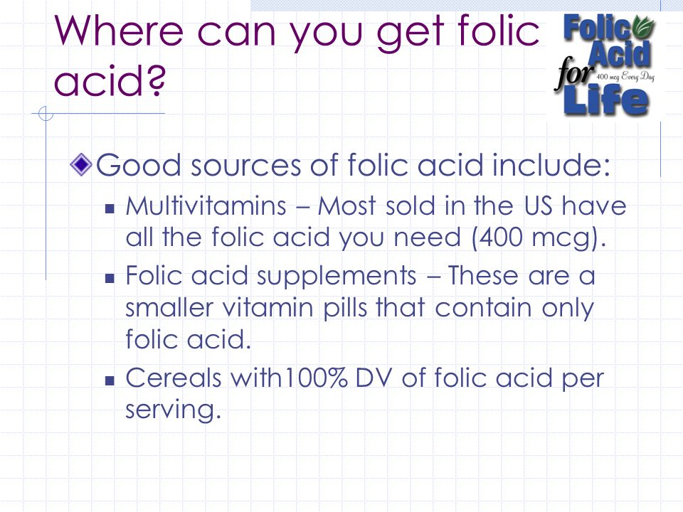 Where can you get folic acid