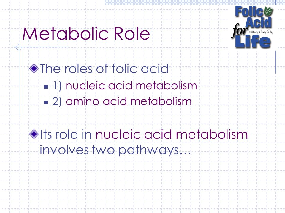 Metabolic Role The roles of folic acid
