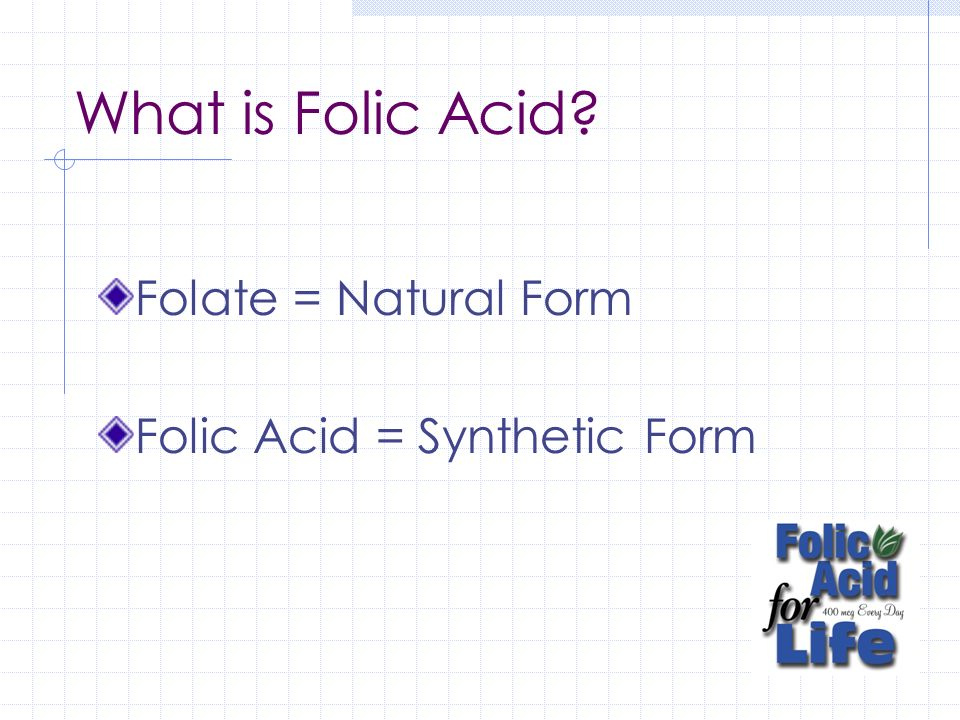 What is Folic Acid Folate = Natural Form Folic Acid = Synthetic Form