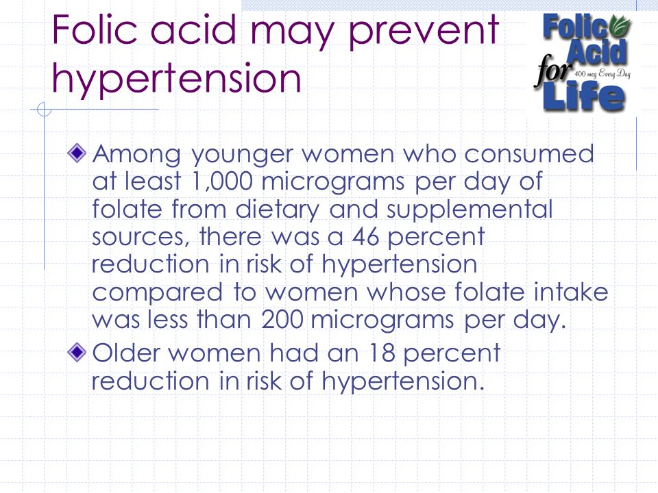 Folic acid may prevent hypertension