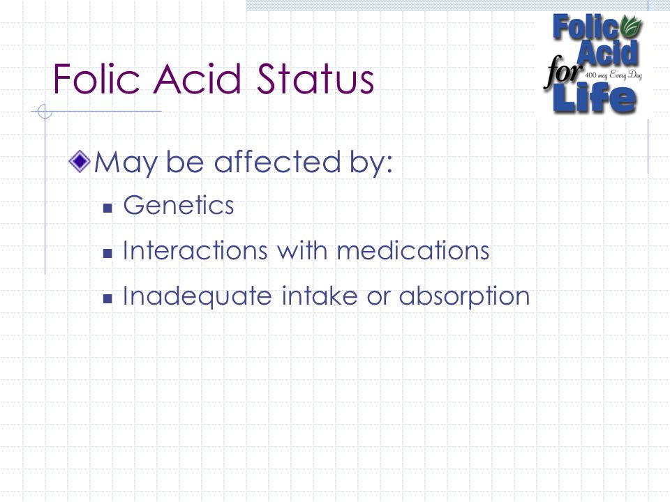 Folic Acid Status May be affected by: Genetics