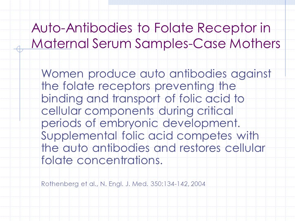 Auto-Antibodies to Folate Receptor in Maternal Serum Samples-Case Mothers
