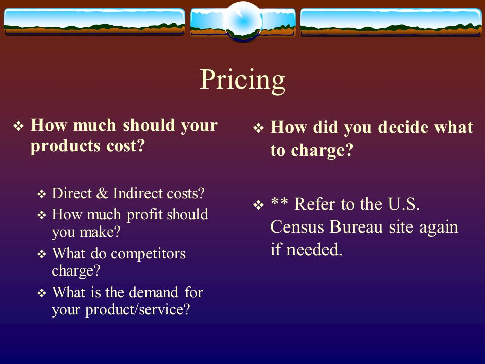 Pricing How much should your products cost