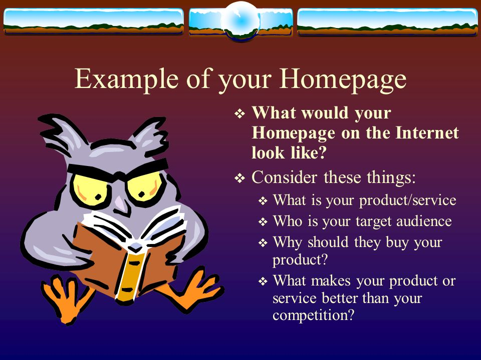 Example of your Homepage