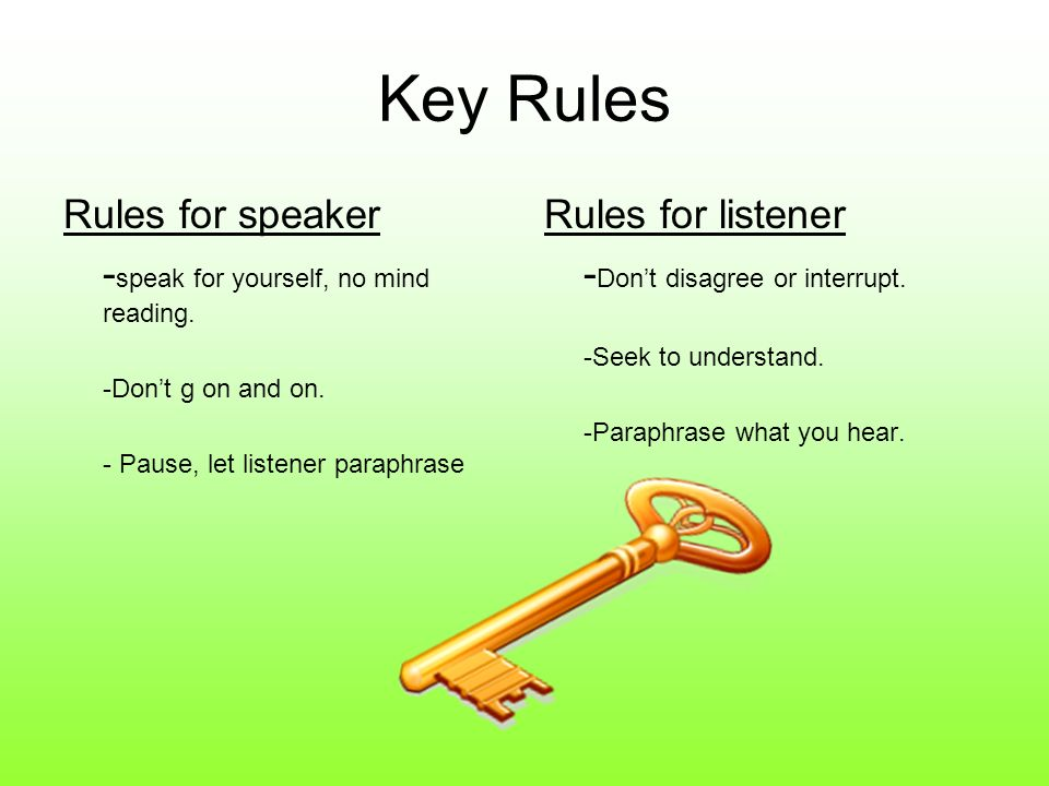 Key Rules Rules for speaker -speak for yourself, no mind reading.