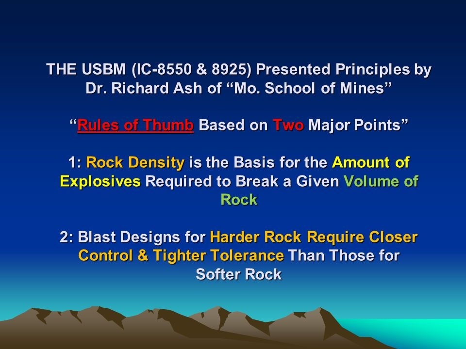THE USBM (IC-8550 & 8925) Presented Principles by Dr