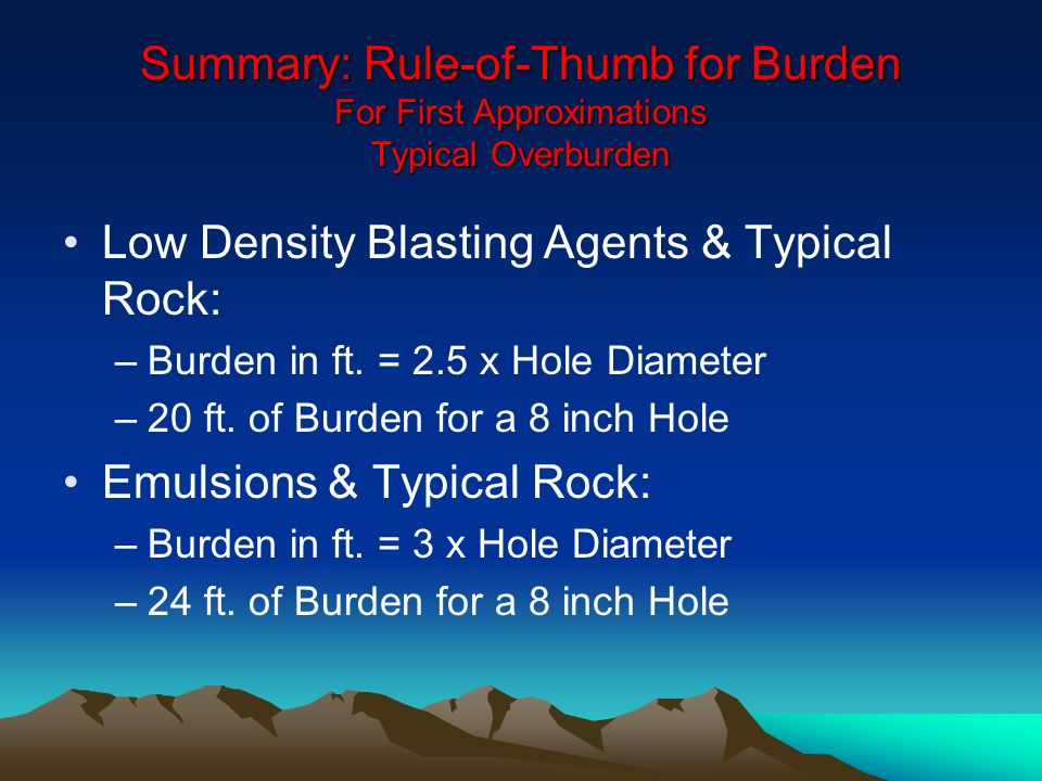 Low Density Blasting Agents & Typical Rock: