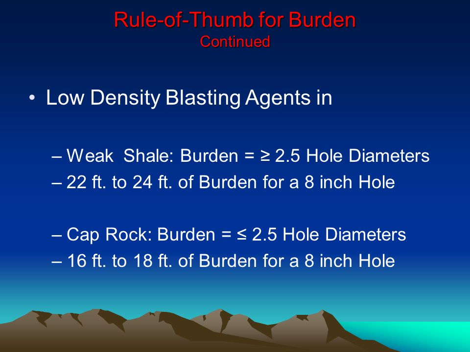 Rule-of-Thumb for Burden Continued