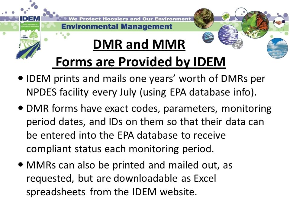 DMR and MMR Forms are Provided by IDEM