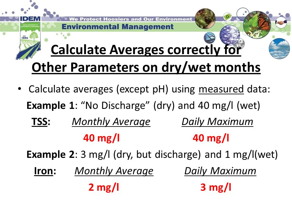 Calculate Averages correctly for Other Parameters on dry/wet months