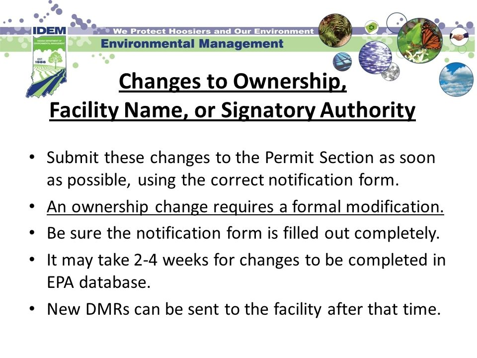 Changes to Ownership, Facility Name, or Signatory Authority