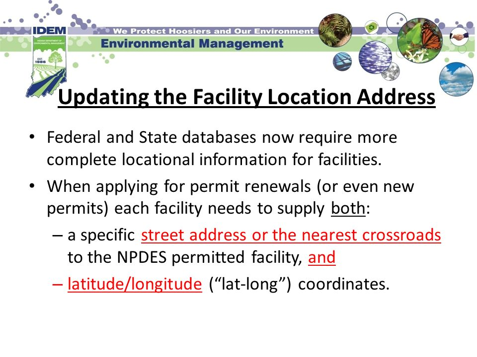 Updating the Facility Location Address