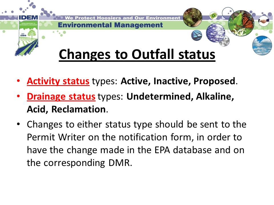 Changes to Outfall status
