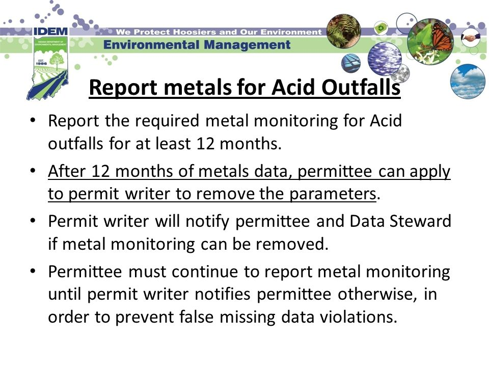 Report metals for Acid Outfalls