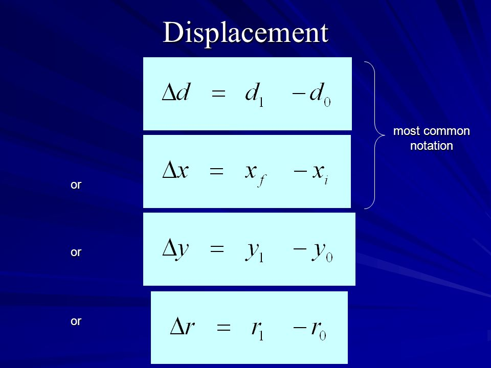 Displacement most common notation or or or