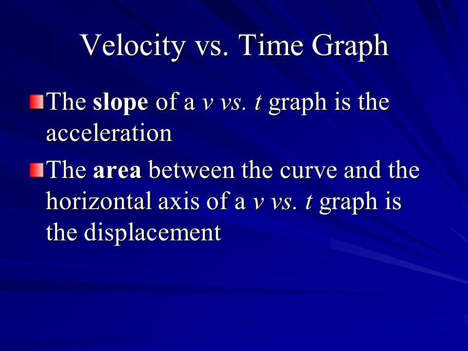 Velocity vs. Time Graph The slope of a v vs. t graph is the acceleration.