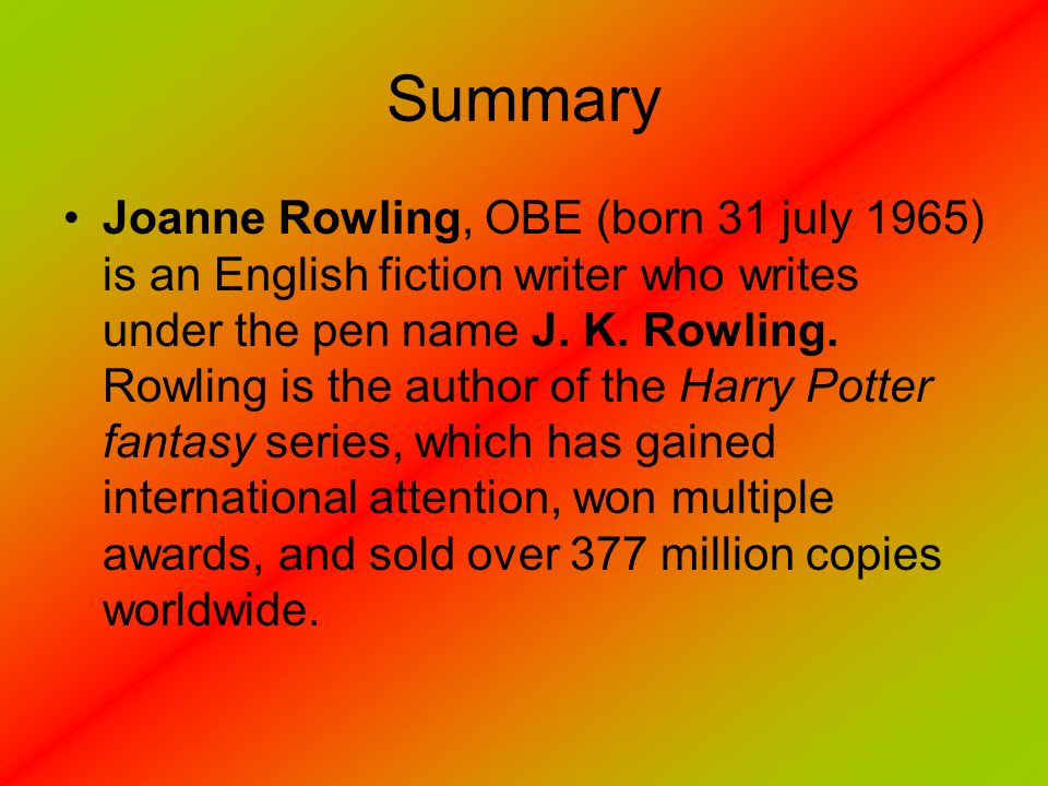 Summary of jk rowling